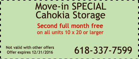 2016 Coupon Special for Cahokia Storage Center in Cahokia IL